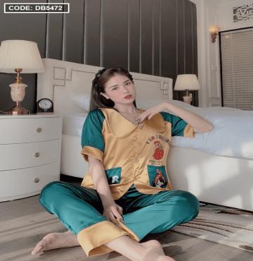 bỏ buôn đồ bộ nữ Pijama tay ngắn quần dài cổ thiết kế