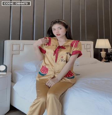bán buôn đồ bộ nữ Pijama tay ngắn quần dài cổ tiểu thư